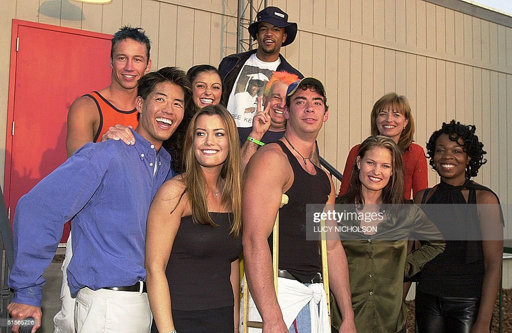 US first place winner of 'Big Brother' reality television show Eddie McGee poses with the losing contestants Third place winner Curtis Kin Jamie...