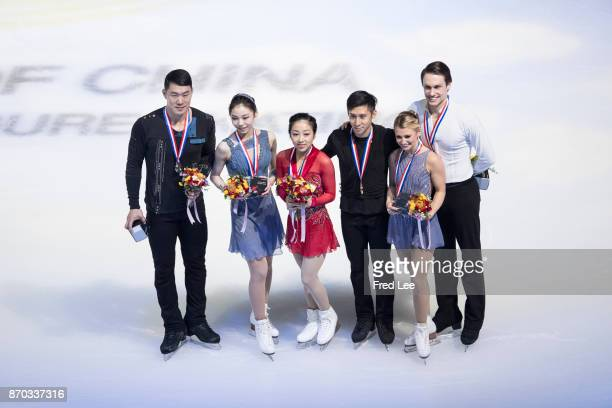 First place winner of pairs free Skating Sui Wenjing and Han Cong of China second place winner Zhang hao and Yu Xiaoyu of China and third place...