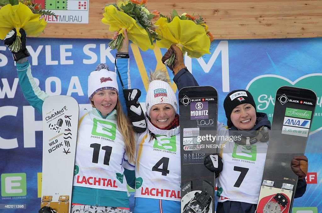 First placed Austria's <a gi-track='captionPersonalityLinkClicked' href=/galleries/search?phrase=Claudia+Riegler+-+Austrian+Snowboarder+-+Born+1973&family=editorial&specificpeople=12458153 ng-click='$event.stopPropagation()'>Claudia Riegler</a>, second placed Russia's <a gi-track='captionPersonalityLinkClicked' href=/galleries/search?phrase=Alena+Zavarzina&family=editorial&specificpeople=6598104 ng-click='$event.stopPropagation()'>Alena Zavarzina</a> (L) and third placed Japan's <a gi-track='captionPersonalityLinkClicked' href=/galleries/search?phrase=Tomoka+Takeuchi&family=editorial&specificpeople=6719453 ng-click='$event.stopPropagation()'>Tomoka Takeuchi</a> (R) celebrate on the podium after the Women's Snowboard Parallel Giant Slalom Finals of FIS Freestyle and Snowboarding World Ski Championships 2015 in Lachtal, near Kreischberg, Austria on January 23, 2015.