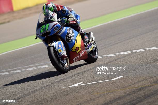 First placed EG 00 Marc VDS' Italian rider Franco Morbidelli crosses the finish line of the MOTO 2 race of the Moto Grand Prix of Aragon at the...