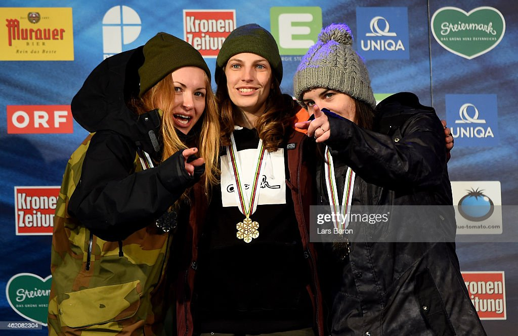 First placed Elena Koenz of Switzerland poses with second placed Marika Enne of Finaland and third placed <a gi-track='captionPersonalityLinkClicked' href=/galleries/search?phrase=Sina+Candrian&family=editorial&specificpeople=6837040 ng-click='$event.stopPropagation()'>Sina Candrian</a> of Switzerland after the Women's Big Air Finals during the FIS Freestyle Ski and Snowboard World Championships 2015 on January 24, 2015 in Kreischberg, Austria.