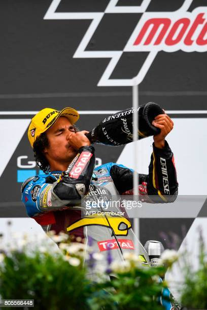 First placed Italian Kalex rider Franco Morbidelli celebrates winning the Moto2 competition of the Moto Grand Prix of Germany at the Sachsenring...