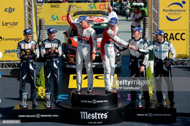 First placed Paul Nagle of Ireland and British Kris Meeke second placed French drivers Sebastien Ogier and his codriver Julien Ingrassia and third...
