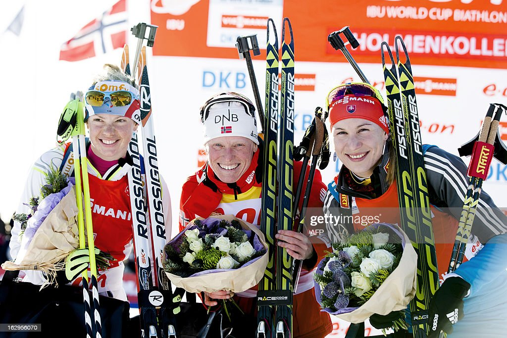 First placed Tora Berger of Norway (C) flanked by second placed Marie Dorin Habert of France (L) and third placed Anastasiya Kuzmina of Slovakia celebrate on the podium after the women 10 km pursuit race at the Biathlon World Cup in Oslo on March 2, 2013.