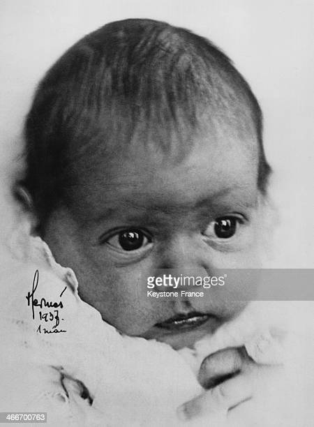 First portrait of Baby Birgitta daughter of Prince Gustaf Adolf and of Princess Sibylla on February 24 1937 in Stockholm Sweden