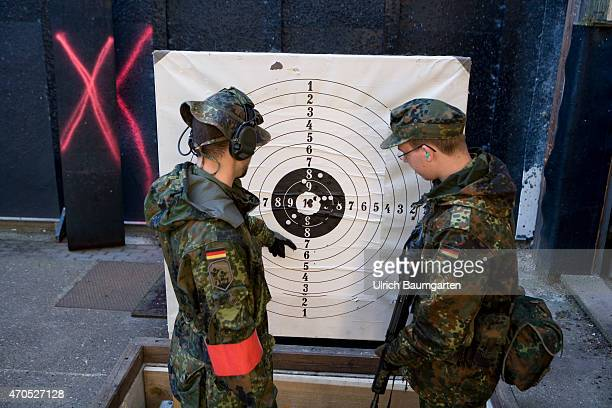 First practice shooting of the new recruits with the rifle G36 and live ammunition at the tank battalion 203 in Augustdorf Instructor and recruit at...