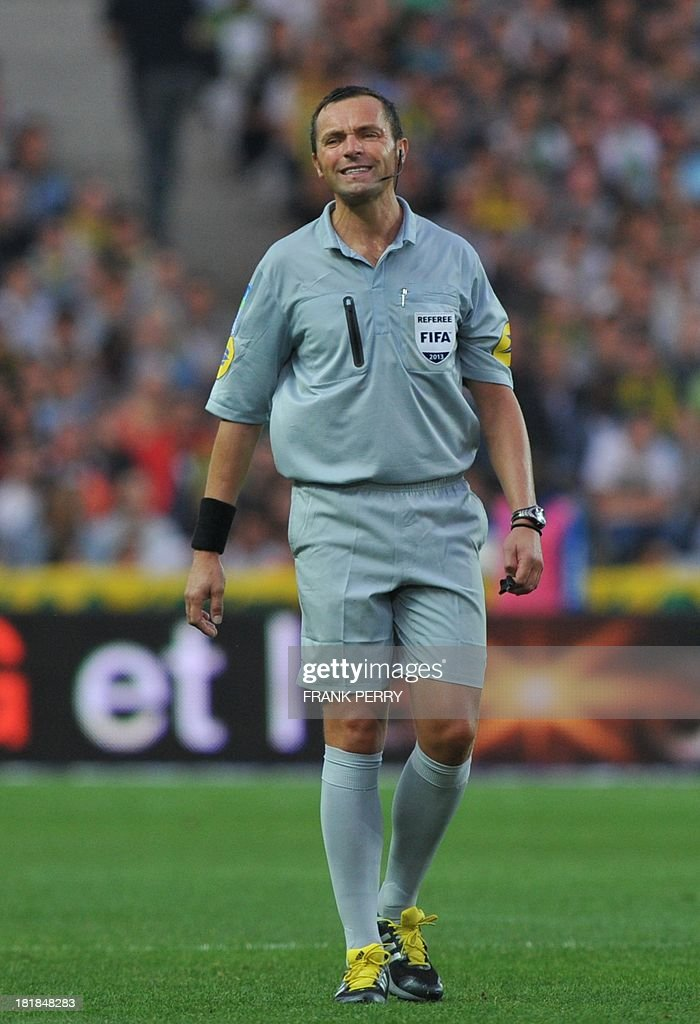 First referee Stephane Lannoy is pictured during the French L1 football match Nantes vs Nice on September 25, 2013 at La Beaujoire stadium in Nantes, western France.