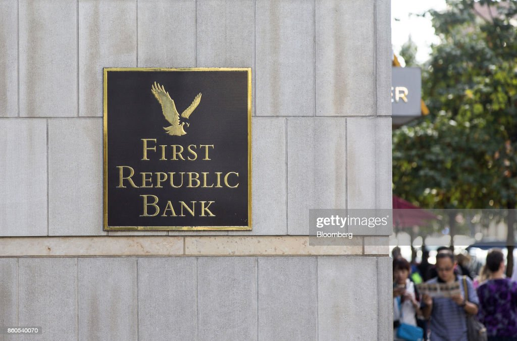 First Republic Bank signage is displayed outside a branch in downtown Boston, Massachusetts, U.S., on Tuesday, Oct. 10, 2017. First Republic Bank is scheduled to release earning figures on October 13. Photographer: Scott Eisen/Bloomberg via Getty Images