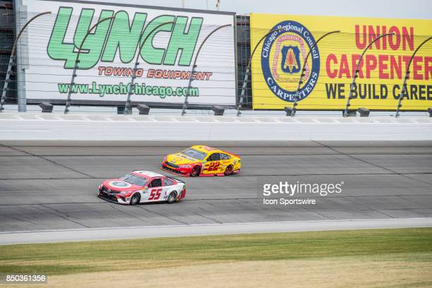 S First Responders Association Toyota driver Gray Gaulding and Team Penske Shell Pennzoil Ford driver Joey Logano during the Monster Energy Cup...