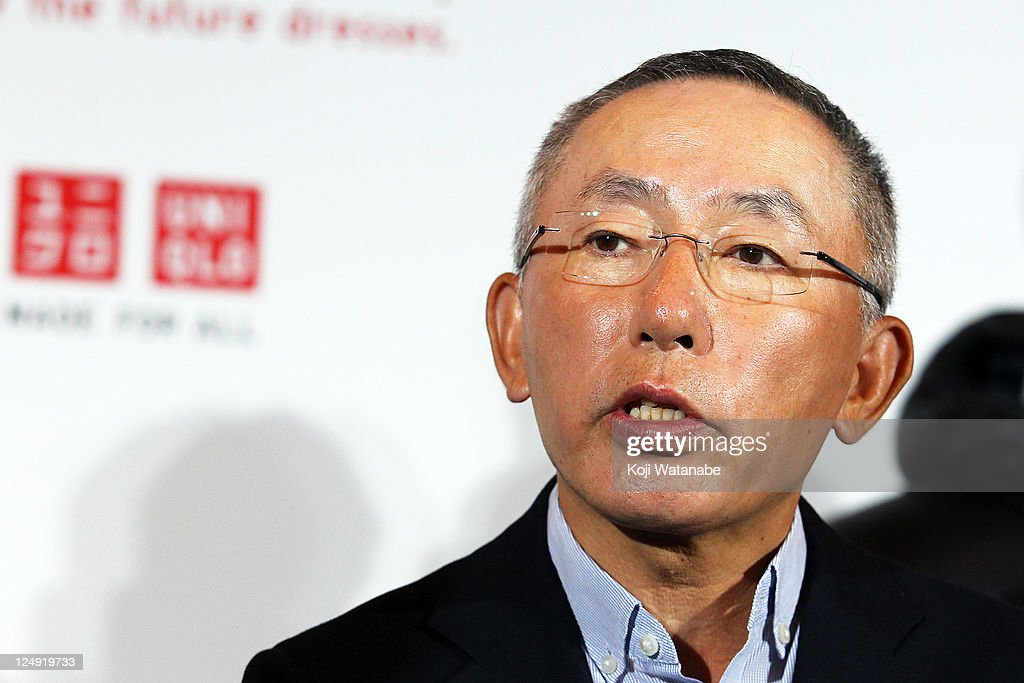 First Retailing Chairman, President and CEO <a gi-track='captionPersonalityLinkClicked' href=/galleries/search?phrase=Tadashi+Yanai&family=editorial&specificpeople=558842 ng-click='$event.stopPropagation()'>Tadashi Yanai</a> speaks to the media after the business strategy press conference at Pacifico Yokohama on September 14, 2011 in Yokohama, Kanagawa, Japan. First Retailing, the operator of Uniqlo, announces the plan to open 200 to 300 shops a year worldwide.