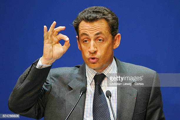 First round campaign of the 2008 primary local elections of the French political party the UMP in Paris Minister of the Interior Nicolas Sarkozy...