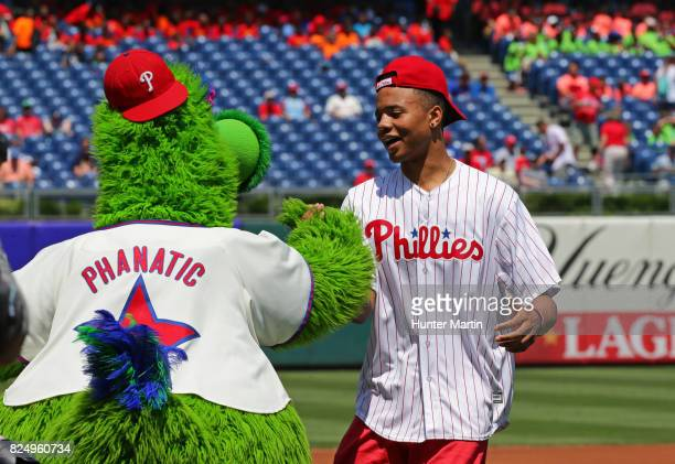 NBA first round draft choice Markelle Fultz of the Philadelphia 76ers throws out the first pitch before a game between the Philadelphia Phillies and...