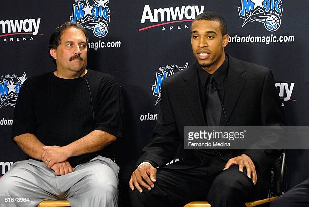 NBA first round draft pick Courtney Lee of the Orlando Magic with head coach Stan Van Gundy addresses the media during a press conference at the RDV...
