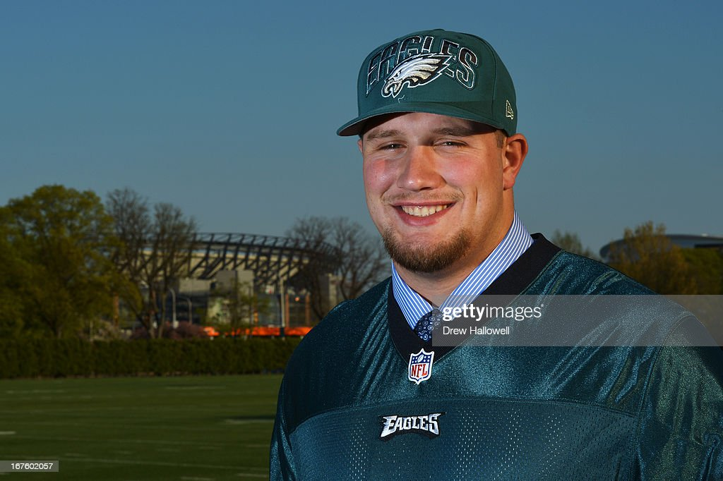 First round draft pick Lane Johnson of the Philadelphia Eagles poses as he is introduced to the fans and media at the NovaCare Complex on April 26, 2013 in Philadelphia, Pennsylvania.