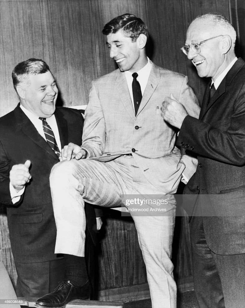 First round draft pick quarterback Joe Namath with New York Jets coach Weeb Ewbank and Jets owner Sonny Werblin New York New York 1965