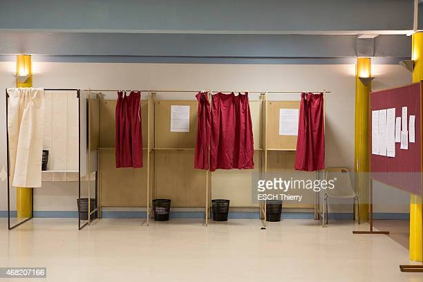 first round of the departmental elections 2015 In Nonancourt a little village in the Eure an empty voting office to illustrate the 60% of abstention...