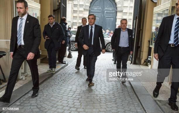 first round of the French Presidential election 2017 Francois Fillon at the vote place in the City Hall of the 7e district in Paris on April 23 2017