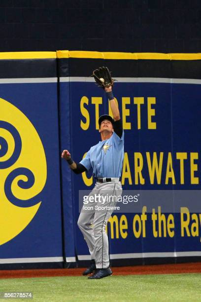 2016 first round pick Josh Lowe of the Rays makes the catch of the fly ball near the warning track during the Florida Instructional League game...