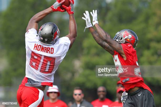 2017 first round pick O J Howard makes the touchdown catch as safety Ryan Smith attempts to knock the ball loose during the Tampa Bay Buccaneers...