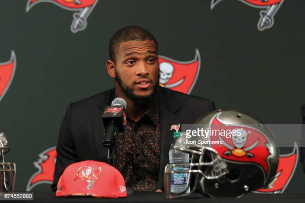 First round pick O J Howard of Alabama speaks to the media during the O J Howard 1st Round Draft Pick Press Conference on April 28 2017 at One...
