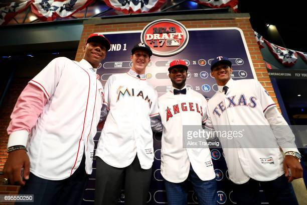First round picks Hunter Greene Trever Rogers Jordon Adell and Bubba Thompson pose for a photo during the 2017 Major League Baseball Draft at Studio...