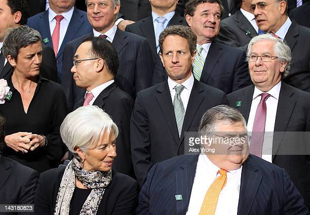 First row International Monetary Fund Managing Director Christine Lagarde Mexico's Central Bank Governor Agustin Carstens second row Deputy Prime...