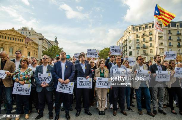 First row of authorities and the catalan Government during the rally on Passeig de Gràcia About 450000 people have been focused to support the...
