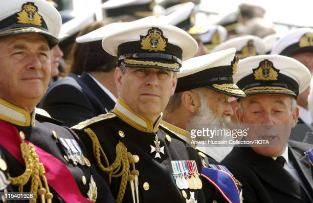 First Sea Lord Admiral Sir Alan West and guests of honour The Duke of York and Prince Michael of Kent at the International Drumhead Ceremony at...