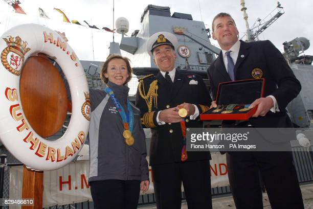 First Sea Lord Admiral Sir Alan West with British Olympic gold medallists yachtswoman Shirley Robertson and rower Sir Matthew Pinsent