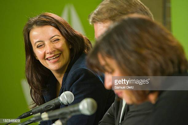 First Secretary of French party Europe Ecologie Les Verts Cecile Duflot attends a press conference during day 1 of the 4th European Greens Congress...