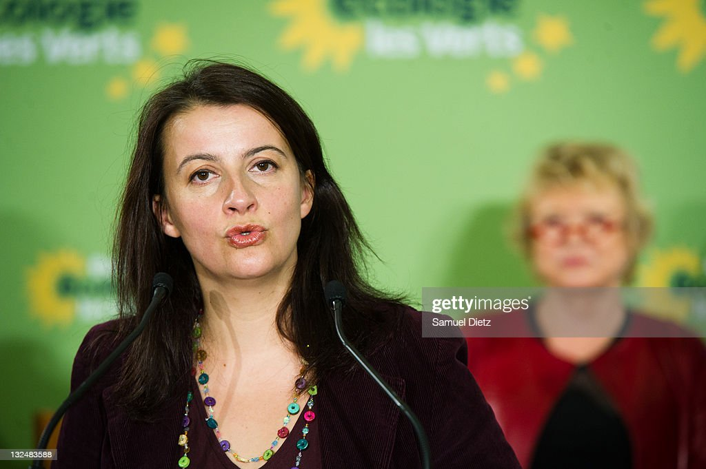 First Secretary of French party Europe Ecologie Les Verts <a gi-track='captionPersonalityLinkClicked' href=/galleries/search?phrase=Cecile+Duflot&family=editorial&specificpeople=4057002 ng-click='$event.stopPropagation()'>Cecile Duflot</a> attends a press conference during day 2 of the 4th European Greens Congress at Maison de la Chimie on November 12, 2011 in Paris, France. The European Greens Congress is held every two and a half years to amend the governing statutes and reassess the aims and organisation of the European Green Party.