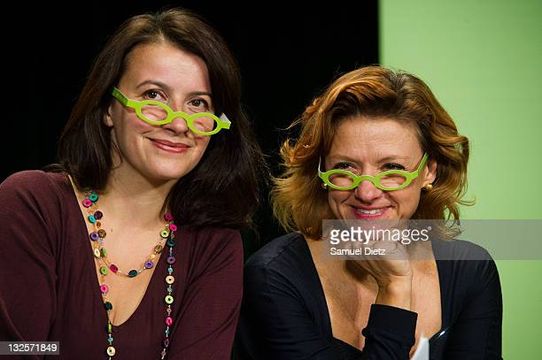 First Secretary of French party Europe Ecologie Les Verts Cecile Duflot and President of the European Green Party Monica Frassoni attend day 2 of the...