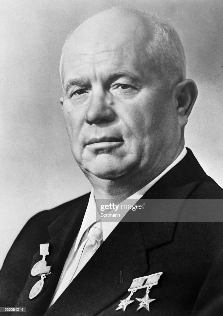 First secretary of the Communist Party of the Soviet Union and premier of the Soviet union <a gi-track='captionPersonalityLinkClicked' href=/galleries/search?phrase=Nikita+Khrushchev&family=editorial&specificpeople=92216 ng-click='$event.stopPropagation()'>Nikita Khrushchev</a>.