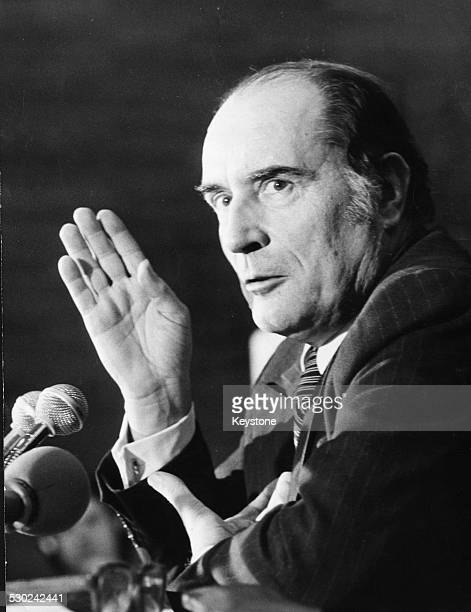 First Secretary of the French Socialist Party Francois Mitterand speaking at a press conference Hotel du Palais Bourbon Paris circa 1975