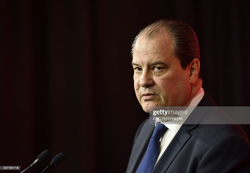 First secretary of the French Socialist Party, Jean-Christophe Cambadelis holds a press conference on May 2, 2016 in Paris, during the launching of the party's campaign 'Du Progres en Plus' (Further Progress) aimed at highlighting the five-year term of the French Socialist president, and gather the Left a year ahead the 2017 presidential elections. / AFP / ERIC