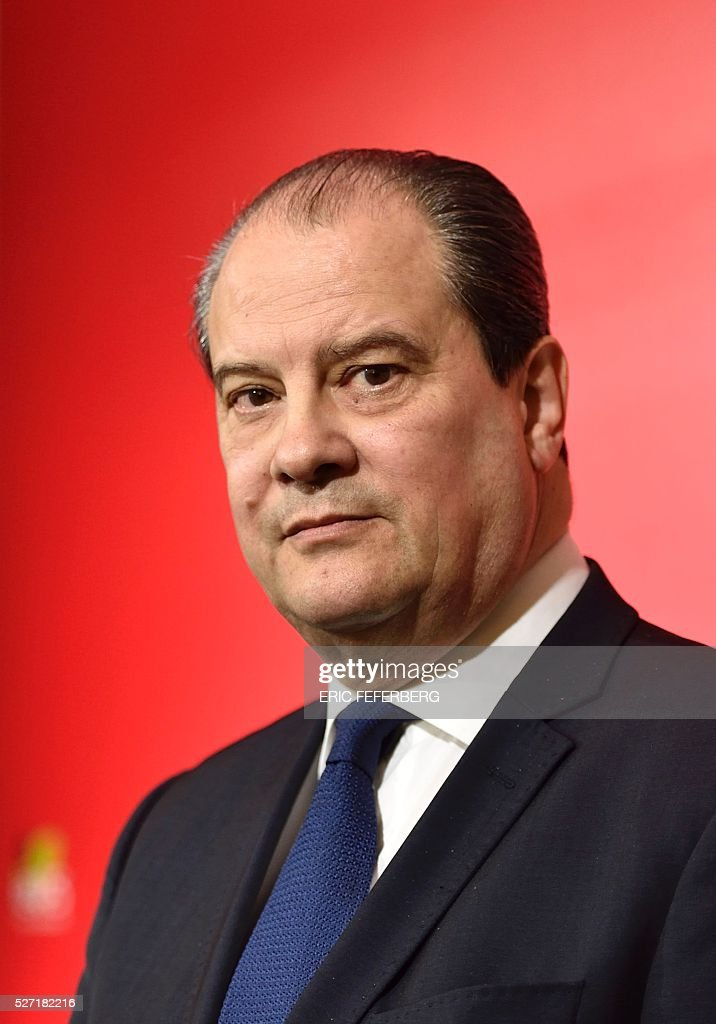 First secretary of the French Socialist Party, Jean-Christophe Cambadelis looks on during a press conference on May 2, 2016 in Paris, during the launching of the party's campaign 'Du Progres en Plus' (Further Progress) aimed at highlighting the five-year term of the French Socialist president, and gather the Left a year ahead the 2017 presidential elections. / AFP / Eric FEFERBERG