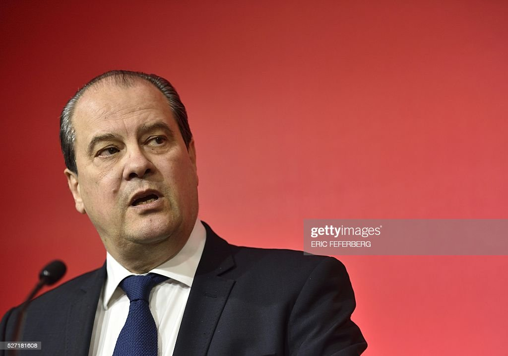 First secretary of the French Socialist Party, Jean-Christophe Cambadelis speaks during a press conference on May 2, 2016 in Paris, during the launching of the party's campaign 'Du Progres en Plus' (Further Progress) aimed at highlighting the five-year term of the French Socialist president, and gather the Left a year ahead the 2017 presidential elections. / AFP / Eric FEFERBERG