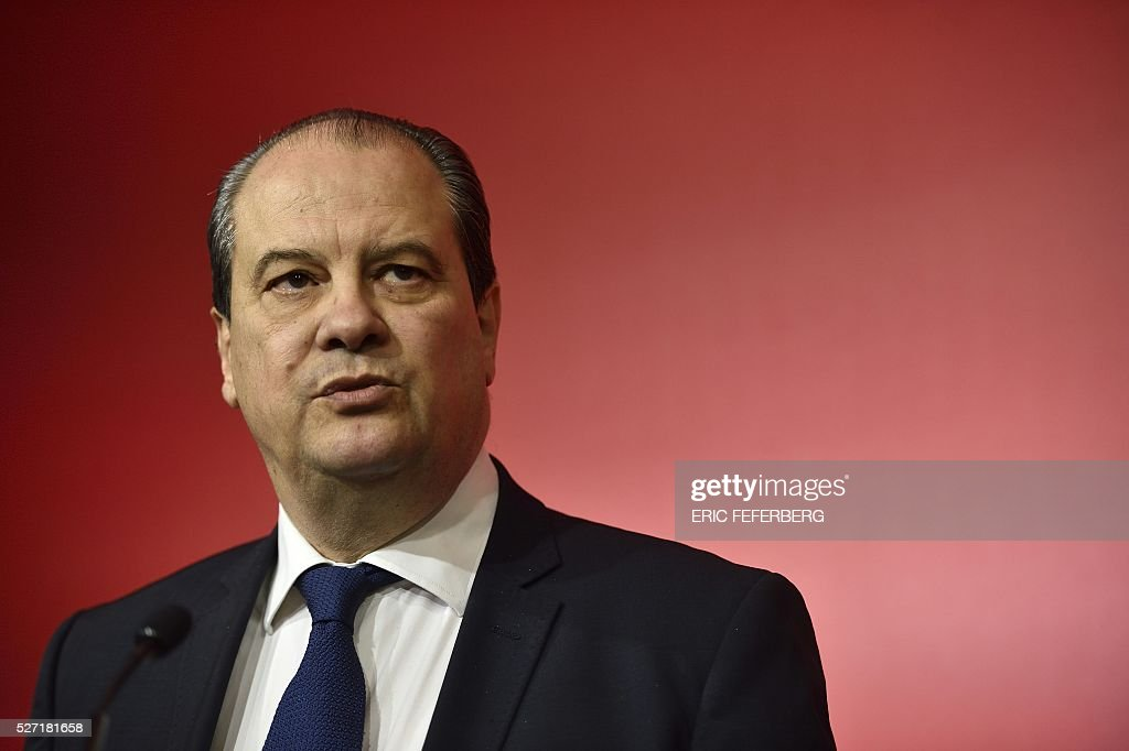 First secretary of the French Socialist Party, Jean-Christophe Cambadelis speaks during a press conference on May 2, 2016 in Paris, during the launching of the party's campaign 'Du Progres en Plus' (Further Progress) aimed at highlighting the five-year term of the French Socialist president, and gather the Left a year ahead the 2017 presidential elections. / AFP / ERIC
