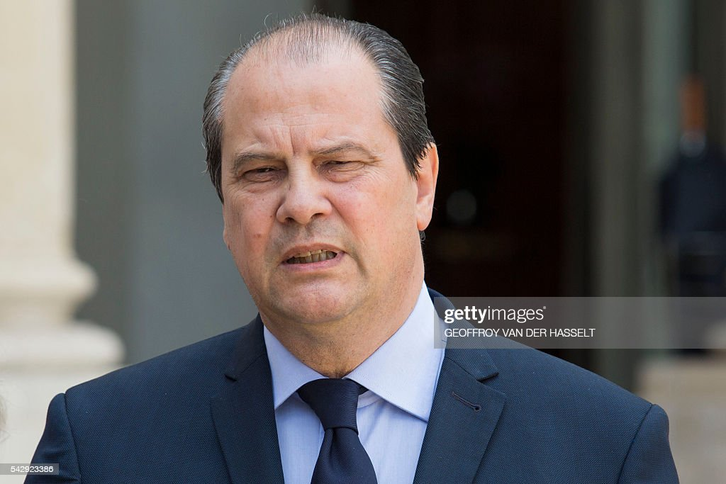 First Secretary of the French Socialist Party, Jean-Christophe Cambadelis speaks to the press following a meeting with French leaders of political parties and movements after Britain voted to leave the European Union the day before, on June 25, 2016 at the Elysee presidential Palace in Paris. As the 'Brexit' vote sent global financial markets into freefall, Moody's cut Britain's credit rating outlook to 'negative', saying the vote to pull out of the European Union could hurt its economic prospects. / AFP / GEOFFROY