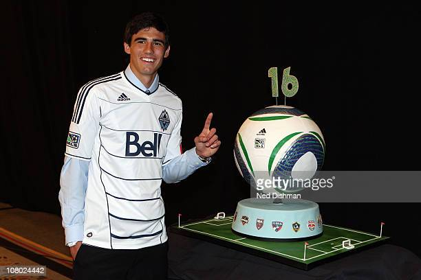 First selection Omar Salgado of the Vancouver Whitecaps poses for a photo during the 2011 MLS SuperDraft on January 13 2011 at the Baltimore...