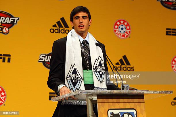 First selection Omar Salgado of the Vancouver Whitecaps speaks to the audience during the 2011 MLS SuperDraft on January 13 2011 at the Baltimore...