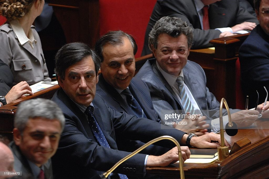 First session after June's parliamentary election at French National Assembly in Paris, France on June 26, 2007 - Herve Morin, Francois Fillon, <a gi-track='captionPersonalityLinkClicked' href=/galleries/search?phrase=Roger+Karoutchi&family=editorial&specificpeople=4081438 ng-click='$event.stopPropagation()'>Roger Karoutchi</a>, Jean-Louis Borloo.