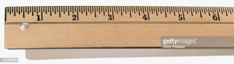 First Six inches of wooden ruler : Stock-Foto
