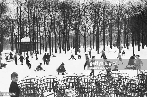 First Snowfall In The Garden Of Luxembourg Paris In 1955