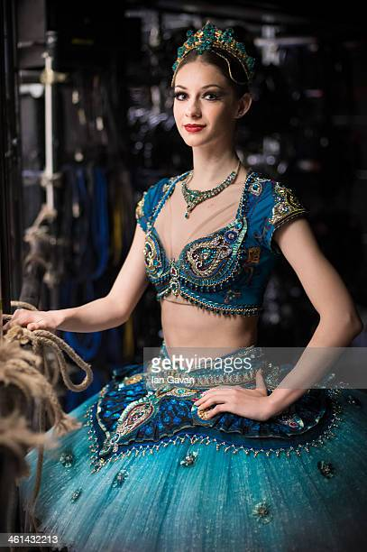 First Soloist Laurretta Summerscales poses for a portrait backstage prior to a press performance of 'Le Corsaire' by the English National Ballet at...