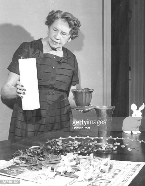 First step is assembling materials Here Mrs Eccles considers the lines color and texture of three possible containers Her choice for the early spring...