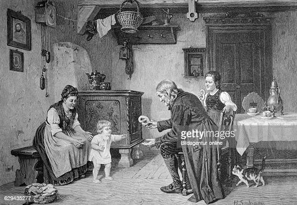 First steps of the baby in the family historical illustration circa 1893