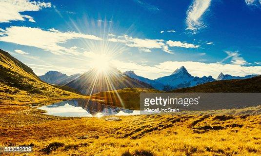 First sunlight in Swiss mountains (autumn)