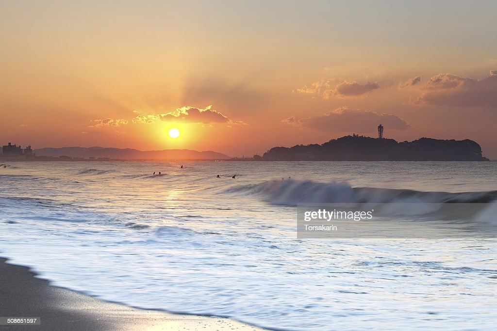 First sunrise of year 2014 at enoshima island ,fujisawa Japan : Stock Photo