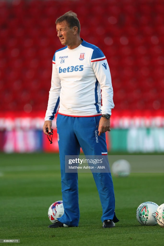 First Team Coach, Eddie Niedzwieckif of Stoke City during the Carabao Cup Second Round match between Stoke City and Rochdale at Bet365 Stadium on August 23, 2017 in Stoke on Trent, England.